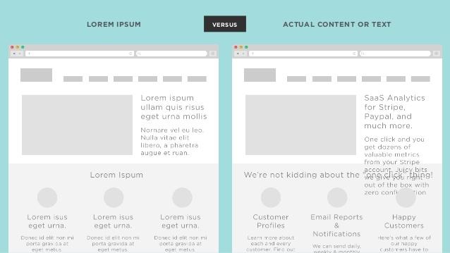lorum ipsum vs actual content