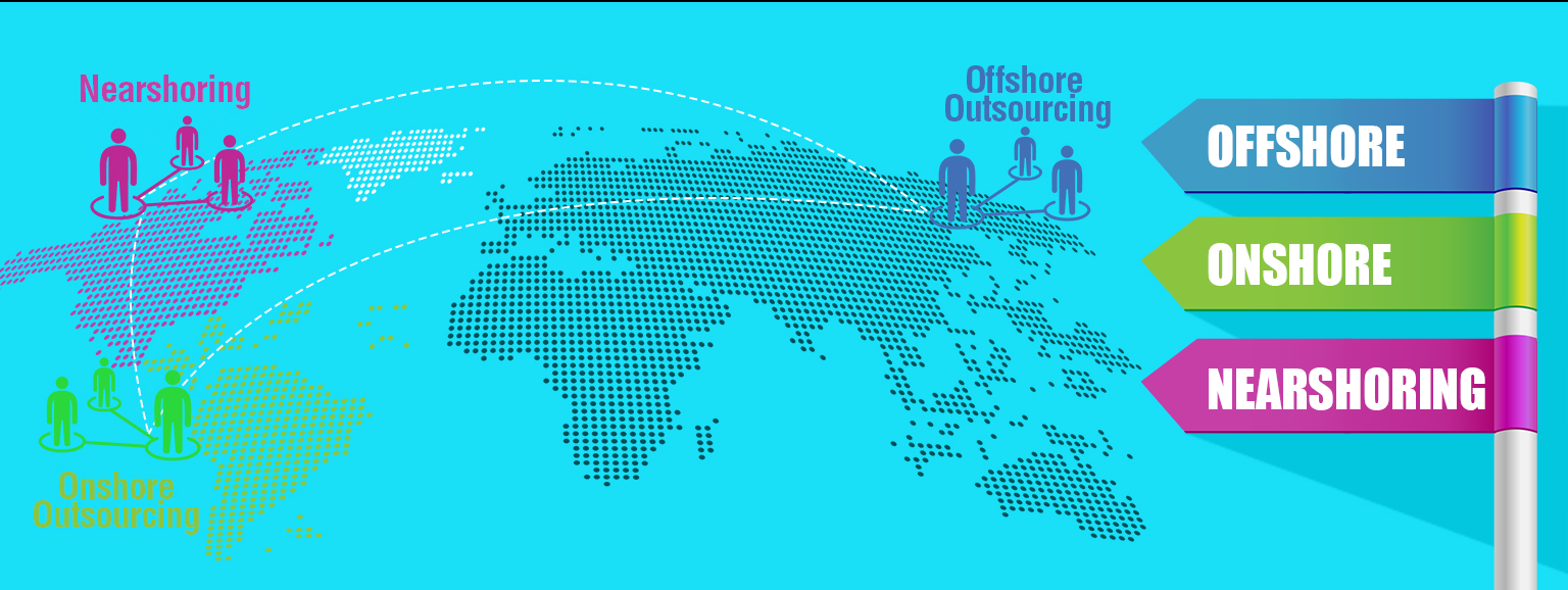 Three Types of IT outsourcing - Offshore, Onshore, Nearshoring